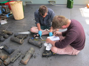 Thumbnail - Members of crew documenting findings on board of the boat