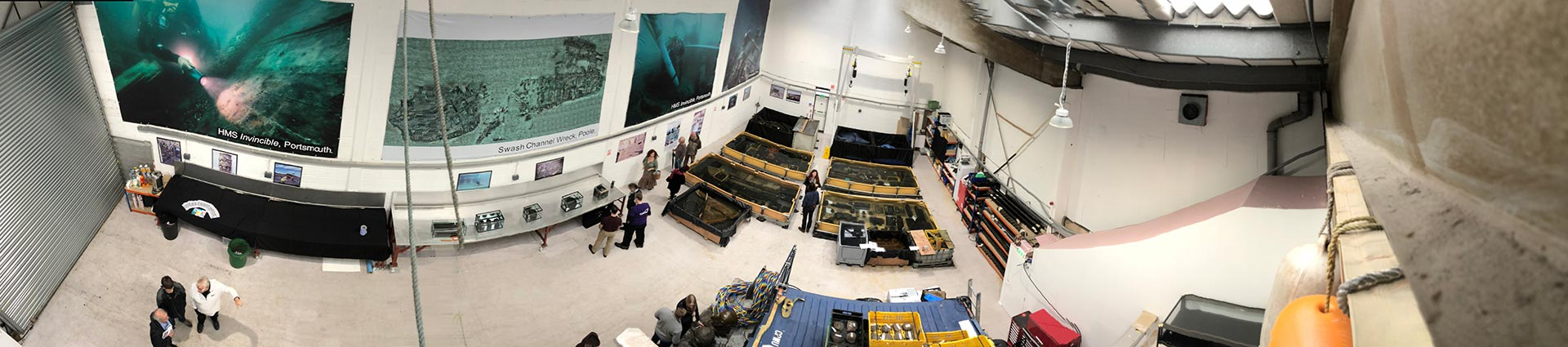 A panoramic shot of the exhibition