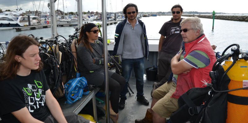 A photo of BU students with Dave Parham, Senior Lecturer in Marine Archaeology, who is leading the project
