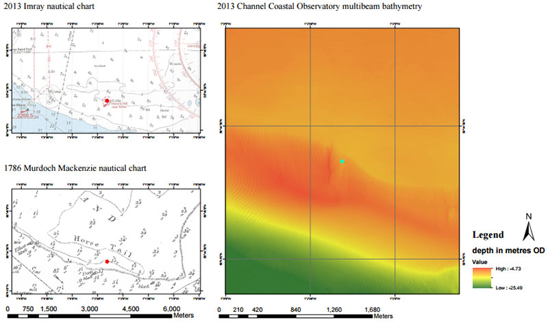 Thumbnail - Historical charts (Pascoe 2014) and bathymetry showing the erosion on the site. The side scan sonar, undertaken by Wessex Archaeology, shows the site within the shifting sands. As it is so shallow in the northern edge it is susceptible to rapid erosion (Pascoe 2015; Bingeman)