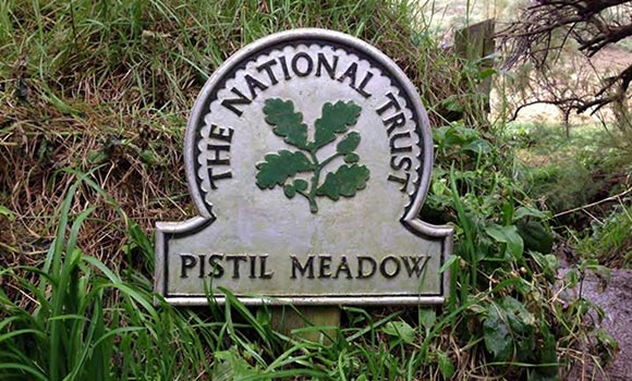 The National Trust - Pistil Meadow sign